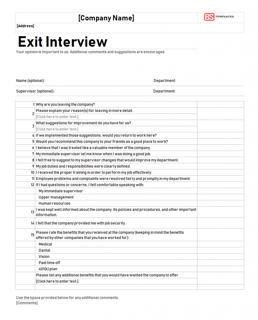 Free Exit Interview Template Forms For Excel PDF