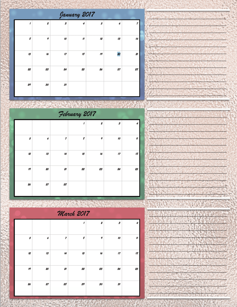 Free Printable 2017 Quarterly Calendars 2 Different Designs