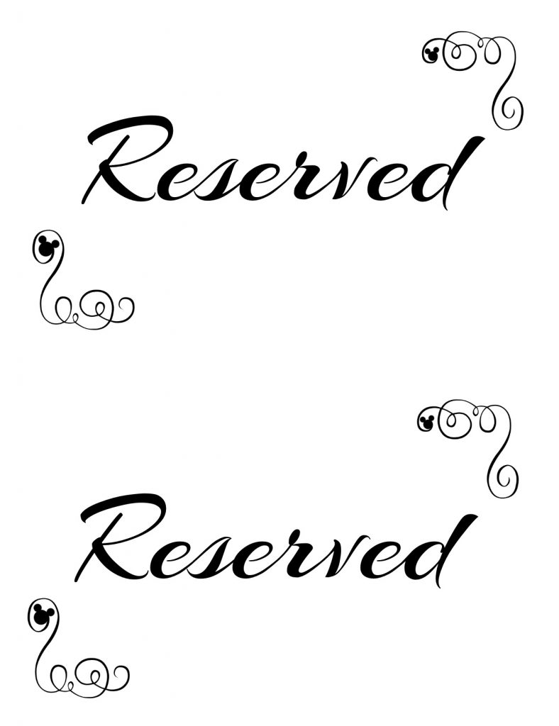 Free Printable Reserved Seating Signs For Your Wedding