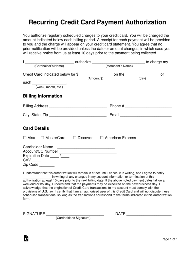 Free Recurring Credit Card Authorization Form Word PDF