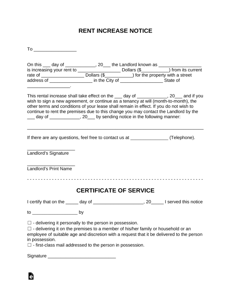 Free Rent Increase Notice Template With Sample PDF