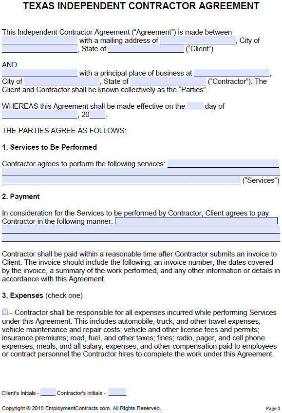 Free Texas Independent Contractor Agreement PDF Word