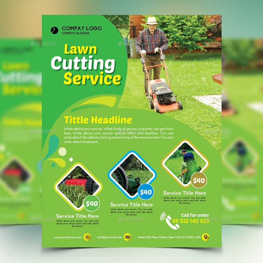 Gardener Mowing Lawn Mower Flyer By Design station