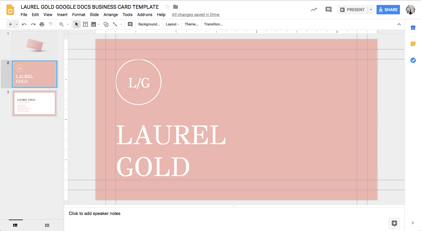 Laurel Gold Google Docs Business Card Template Stand Out