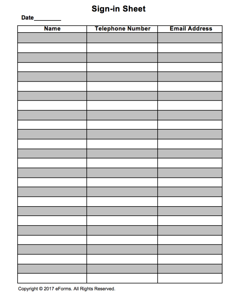 Attendance Guest Sign in Sheet Template EForms Free