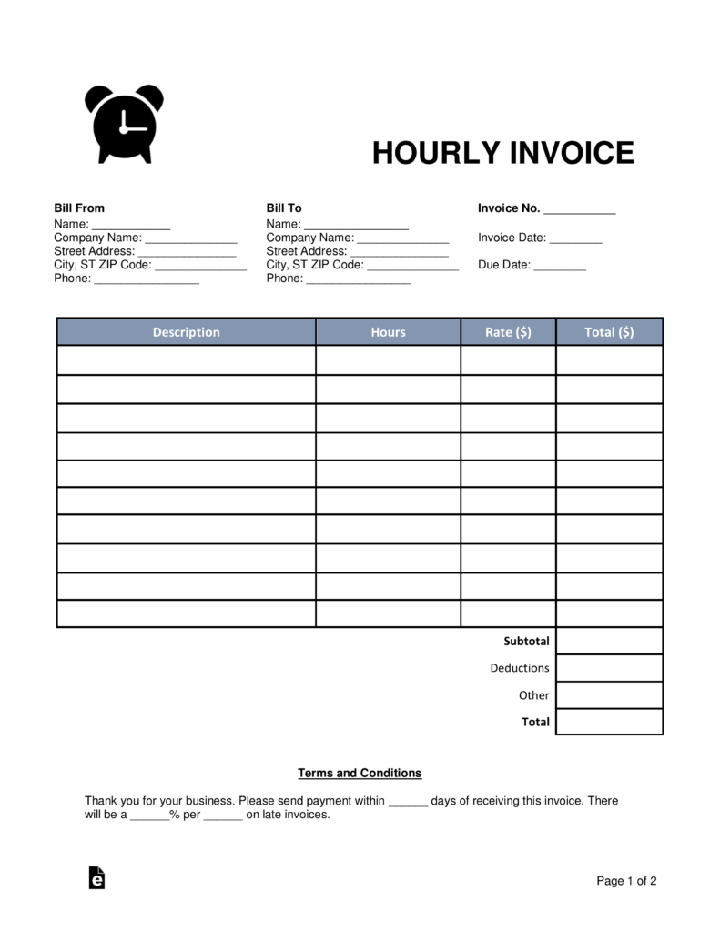 Free Hourly Invoice Template Word PDF EForms Free