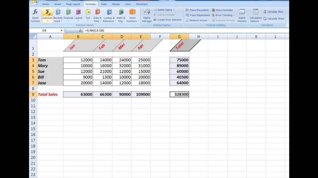 How To Use The Autosum Function In Excel Designed For
