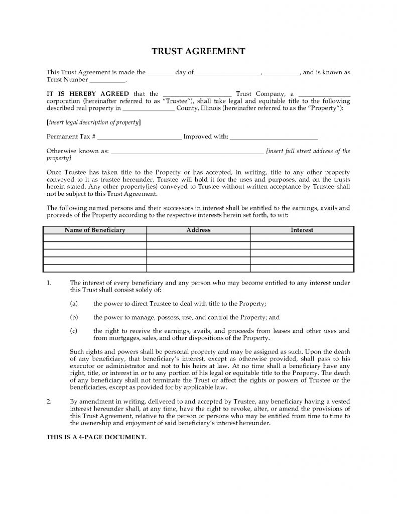 Illinois Land Trust Agreement Legal Forms And Business