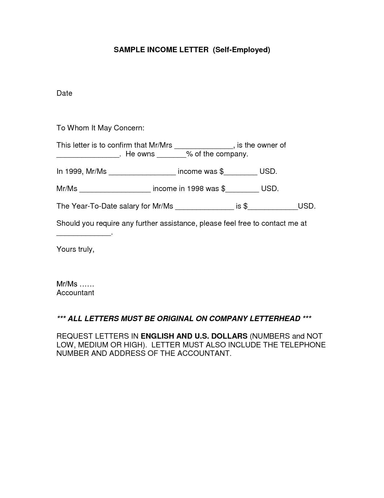 Income Verification Letter For Self Employed