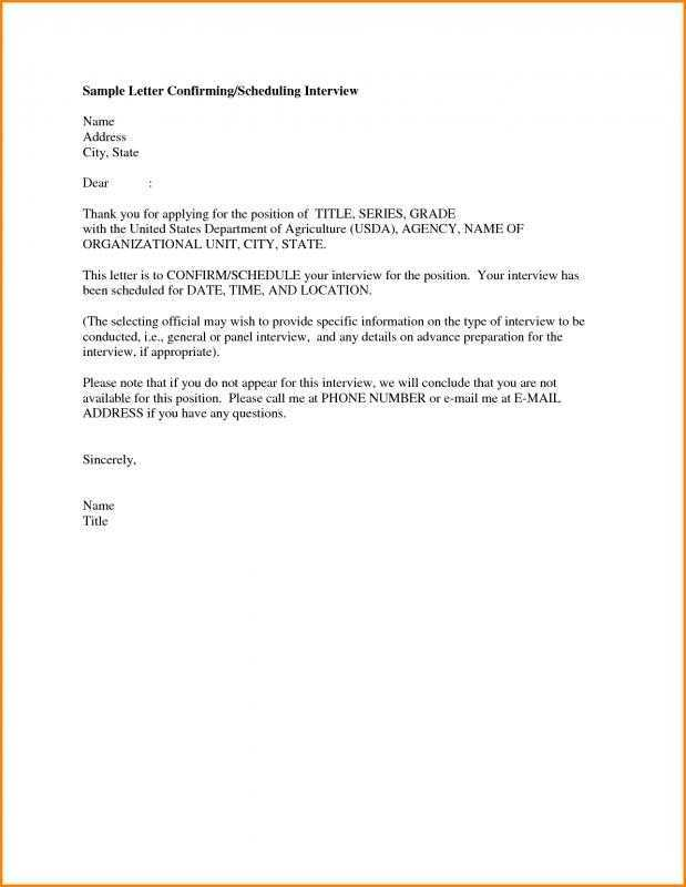 Interview Confirmation Email Template Business