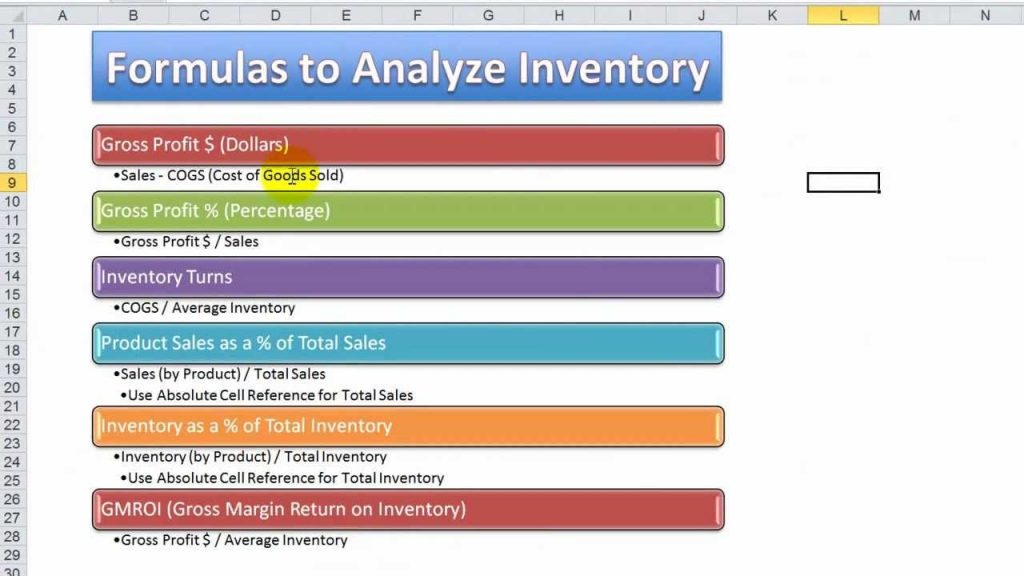 How To Use Excel Functions Formulas To Analyze Inventory