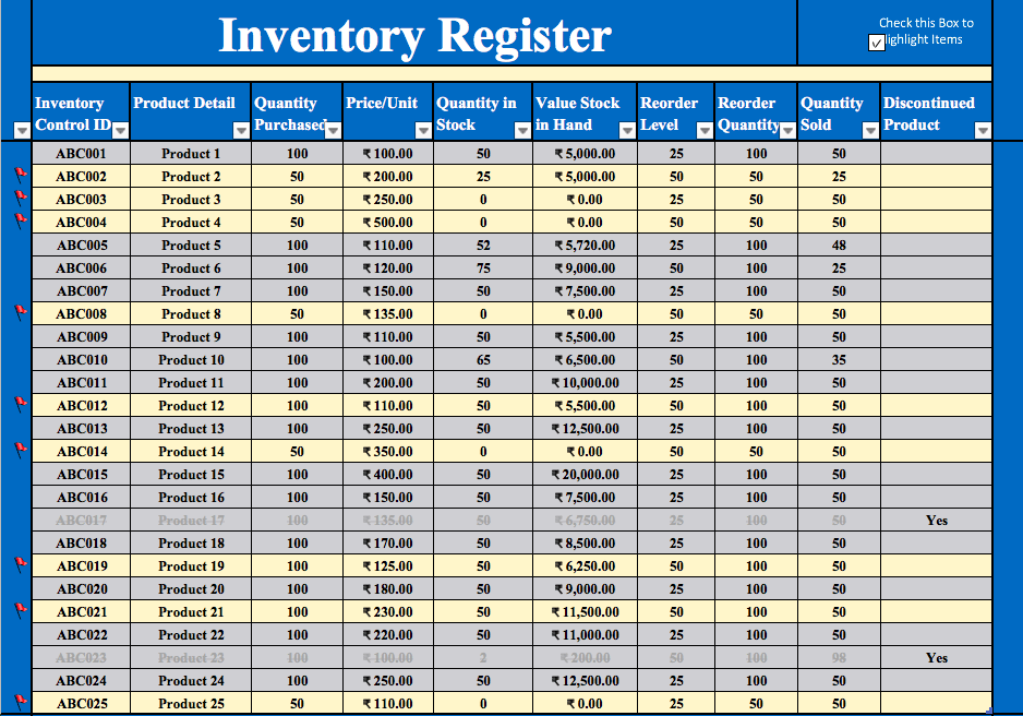 Inventory Management Excel Template Free Download Top