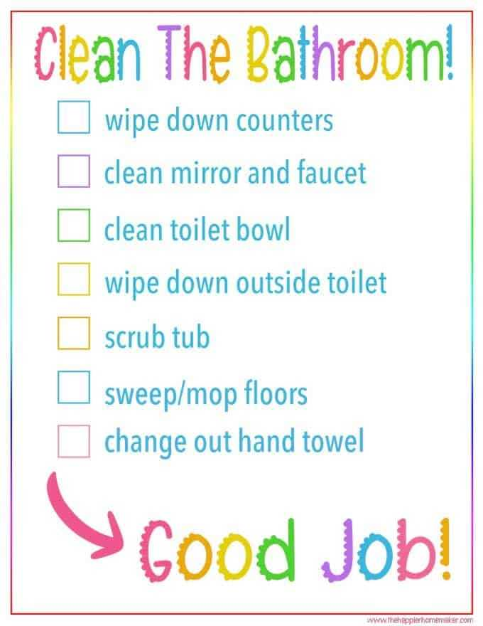 Kid s Bathroom Cleaning Checklist Free Printable