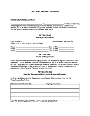 Last Will Texas Fill Online Printable Fillable Blank