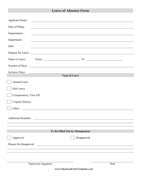 Leave Of Absence Form Template