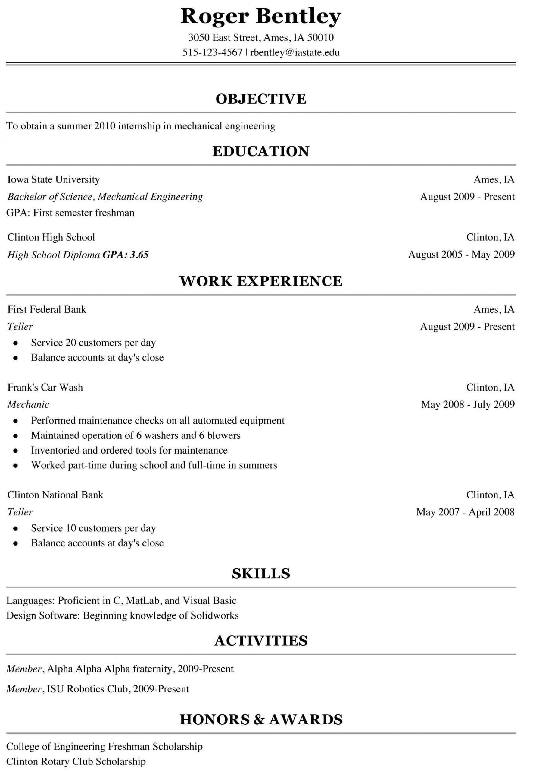 Letter College Resume Sample And Format Letter Sample