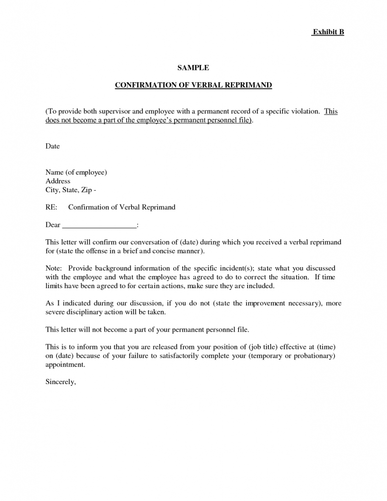 Letter Of Reprimand Template Letters Free Sample Letters