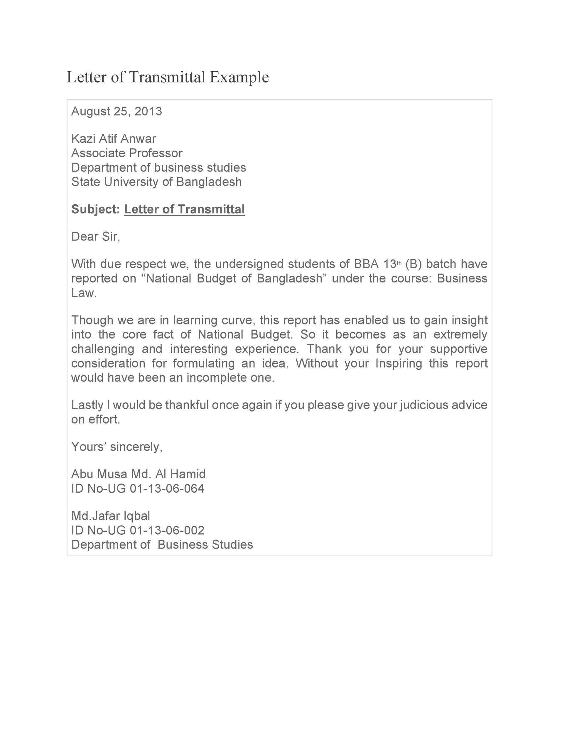 Letter Of Transmittal 40 Great Examples Templates