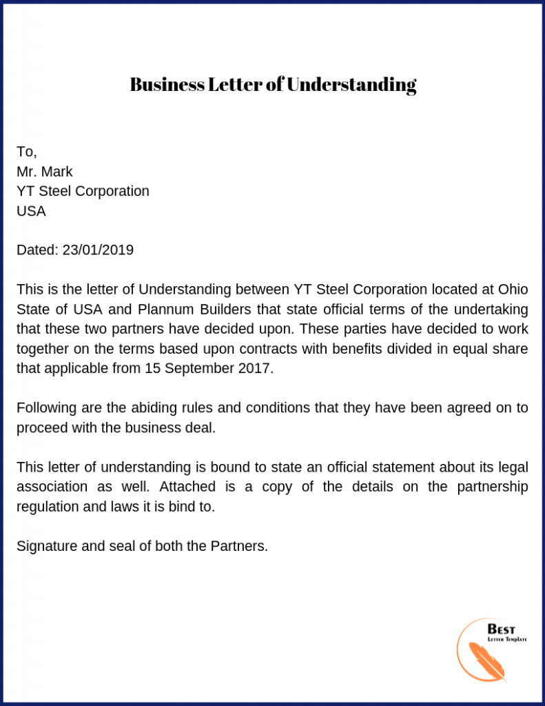 Letter Of Understanding Template Format Sample Example