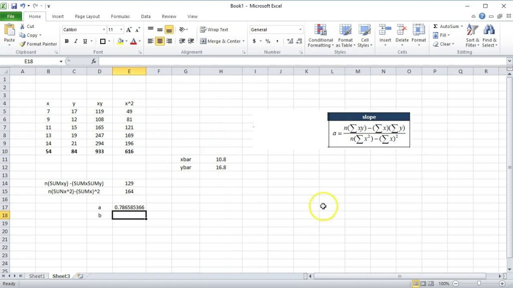 Calculating A Line Of Best Fit In Excel YouTube