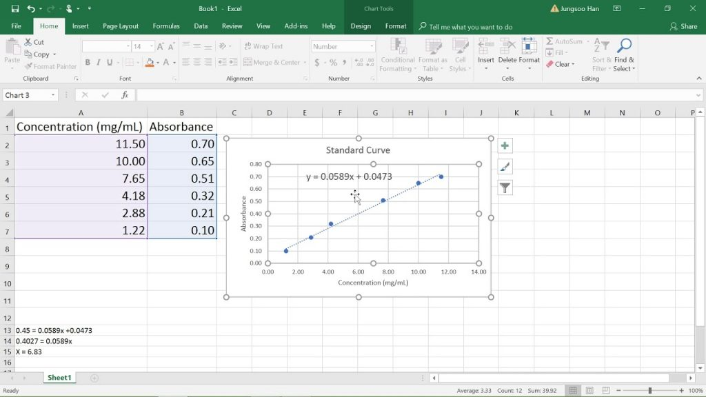 Creating A Line Of Best Fit On Excel YouTube
