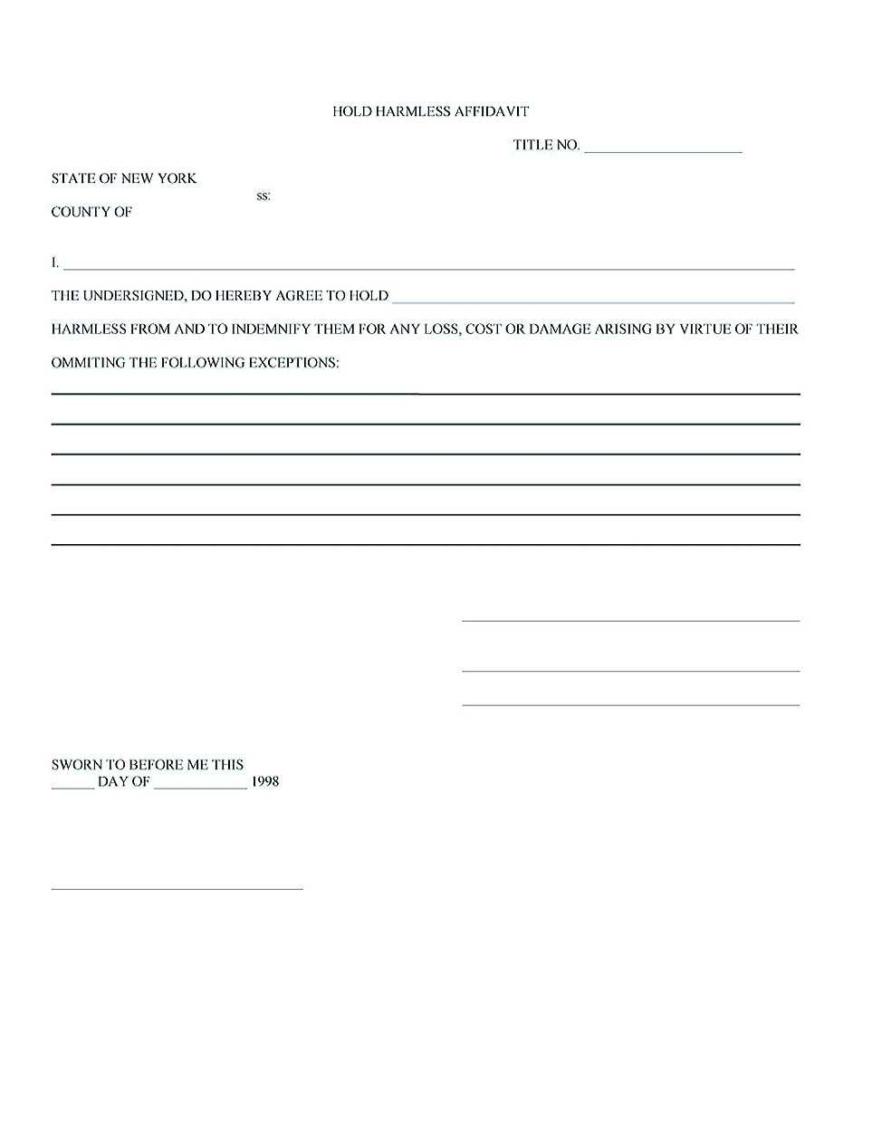 Making Hold Harmless Agreement Template For Different Purposes