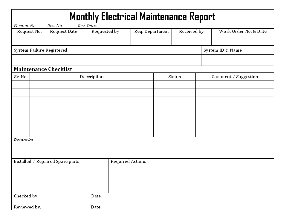 Monthly Electrical Maintenance Report