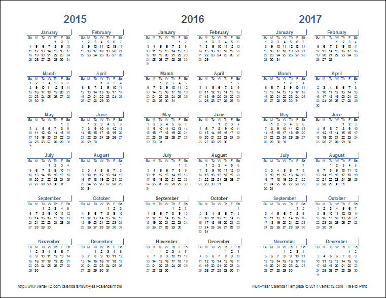 Multi Year Calendars 2 And 3 Year Calendar Templates