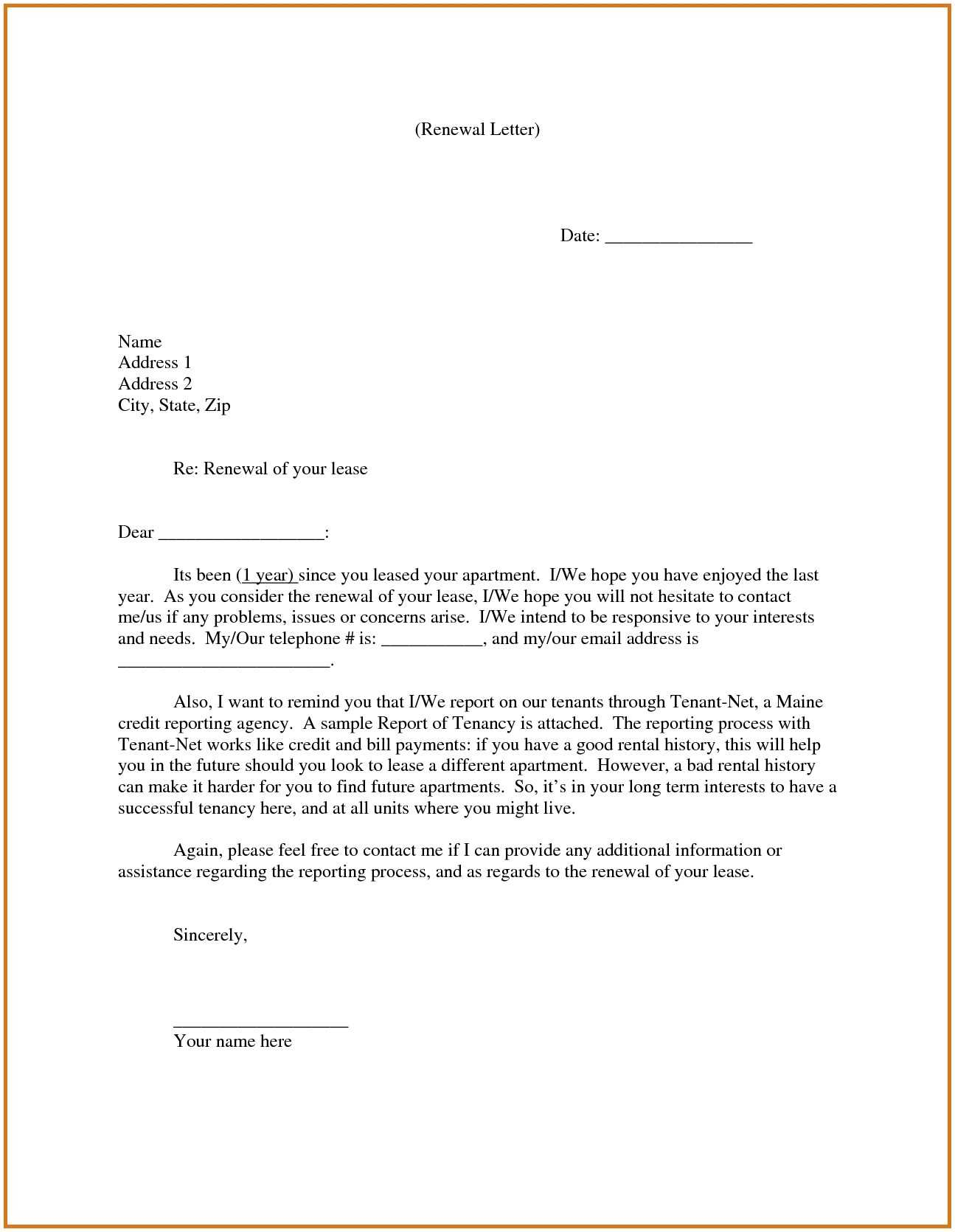 Not Renewing Lease Letter Template Samples Letter