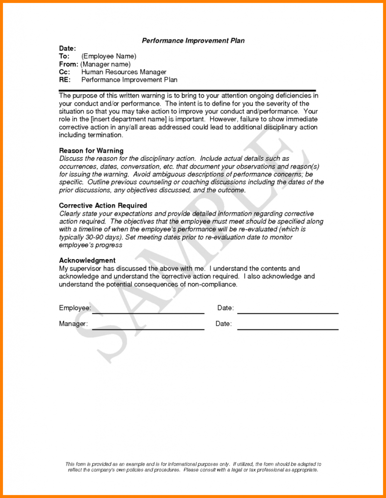 Performance Improvement Plan Letter Template Examples
