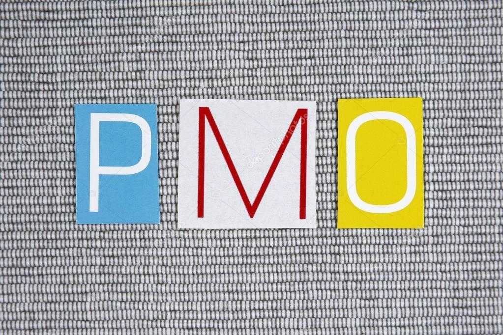PMO Project Management Office Acronym On Grey Background