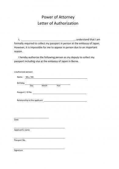 Power Of Attorney Authorization Letter Sample