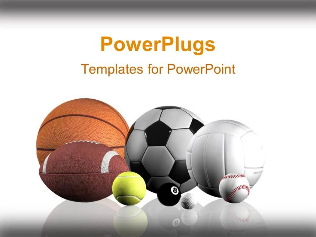 PowerPoint Template Sports Balls Lined Up White
