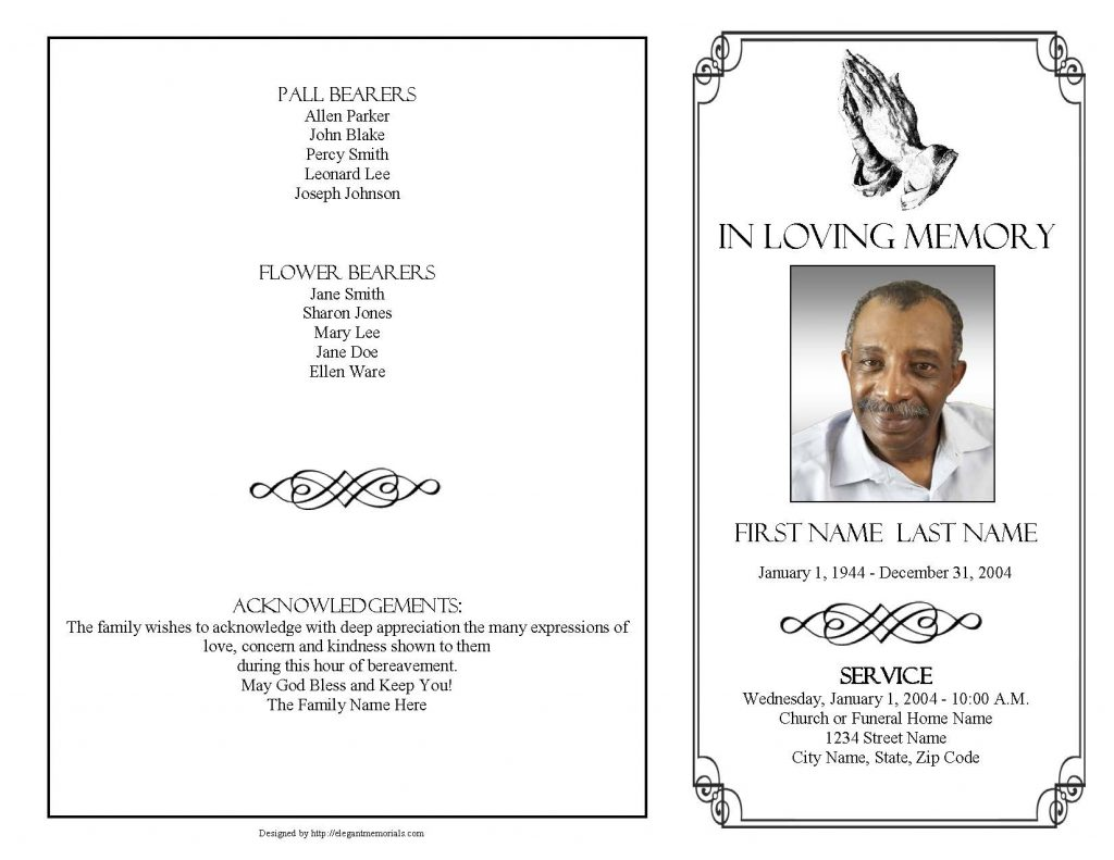 Praying Hands Funeral Program Template 4 Page Graduated