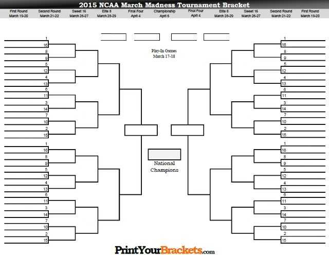 Print Your Brackets Online MarchMadness Brackets March