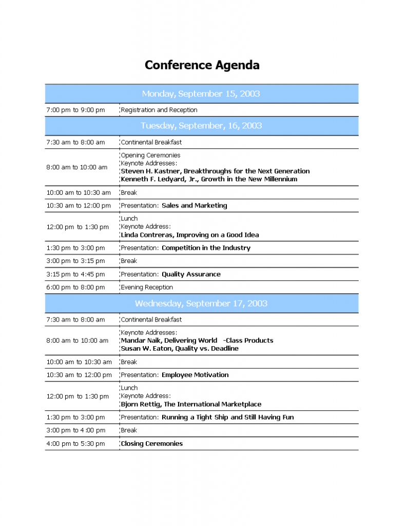 Professional Conference Agenda Templates At