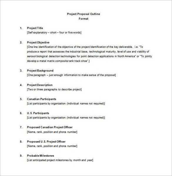 Project Outline Template 8 Free Word Excel PDF Format