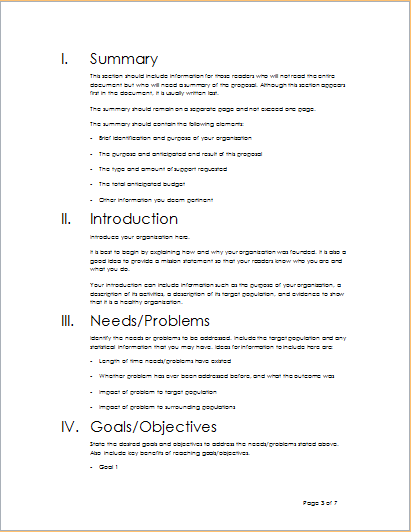 Project Outline Template For WORD Word Excel Templates