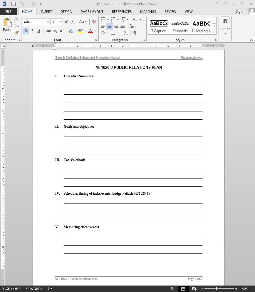 Public Relations Plan Template
