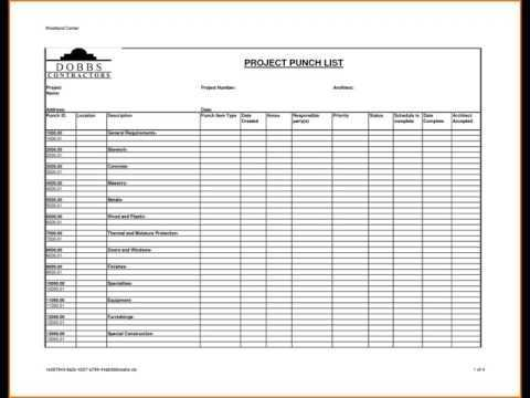 PROJECT PUNCH LIST TEMPLATE YouTube