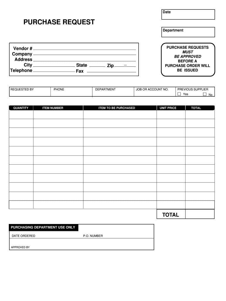 Purchase Request Form Fill Online Printable Fillable