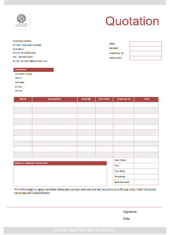 Quote Form Templates Free Download