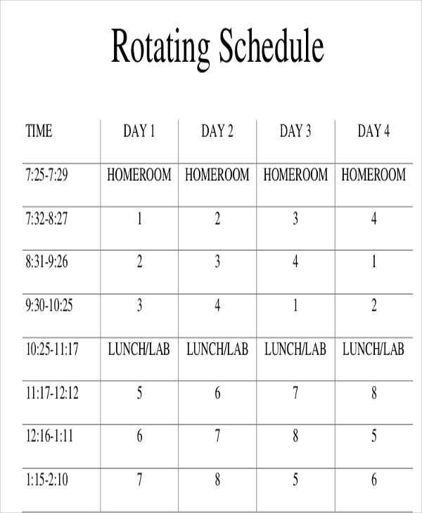 Rotating Schedule Template 10 Free Samples Examples