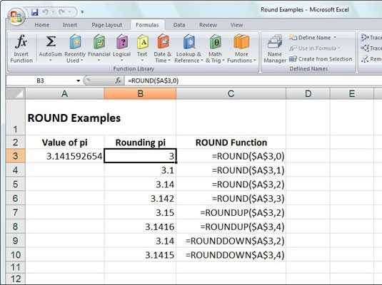 Rounding Numbers In Excel 2007 With ROUND ROUNDUP And