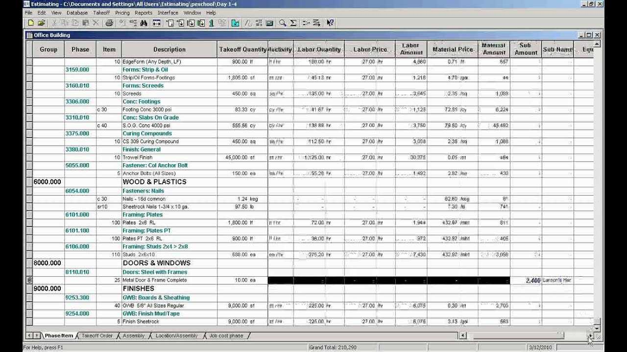 Sage Estimating Video 13 Bid Grids YouTube