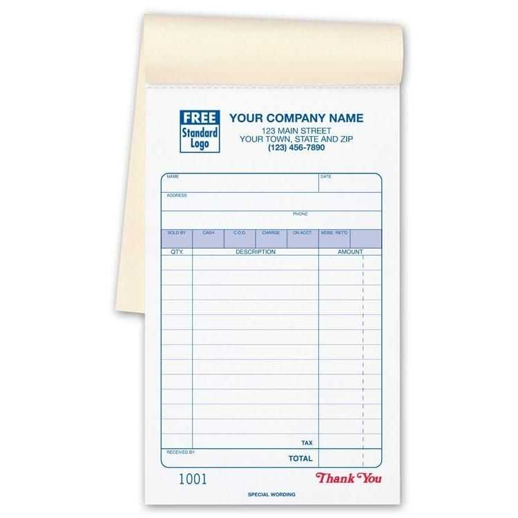 Sales Receipt Book Imprinted With Your Business