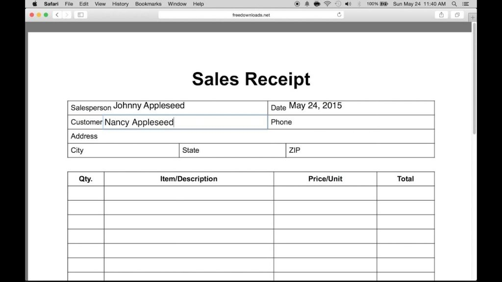 How To Write An Itemized Sales Receipt Form YouTube