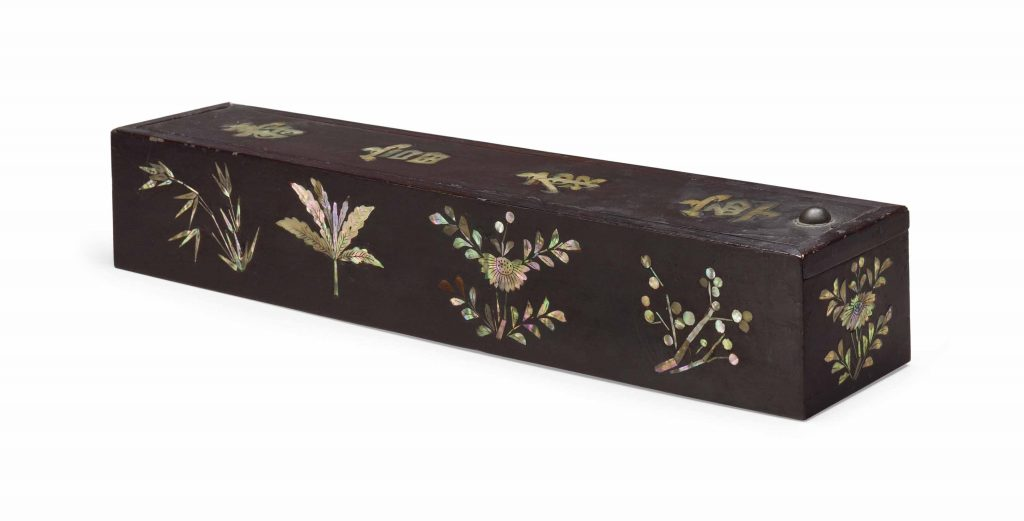 A Lacquered wood Scroll Box Inlaid With Mother of Pearl