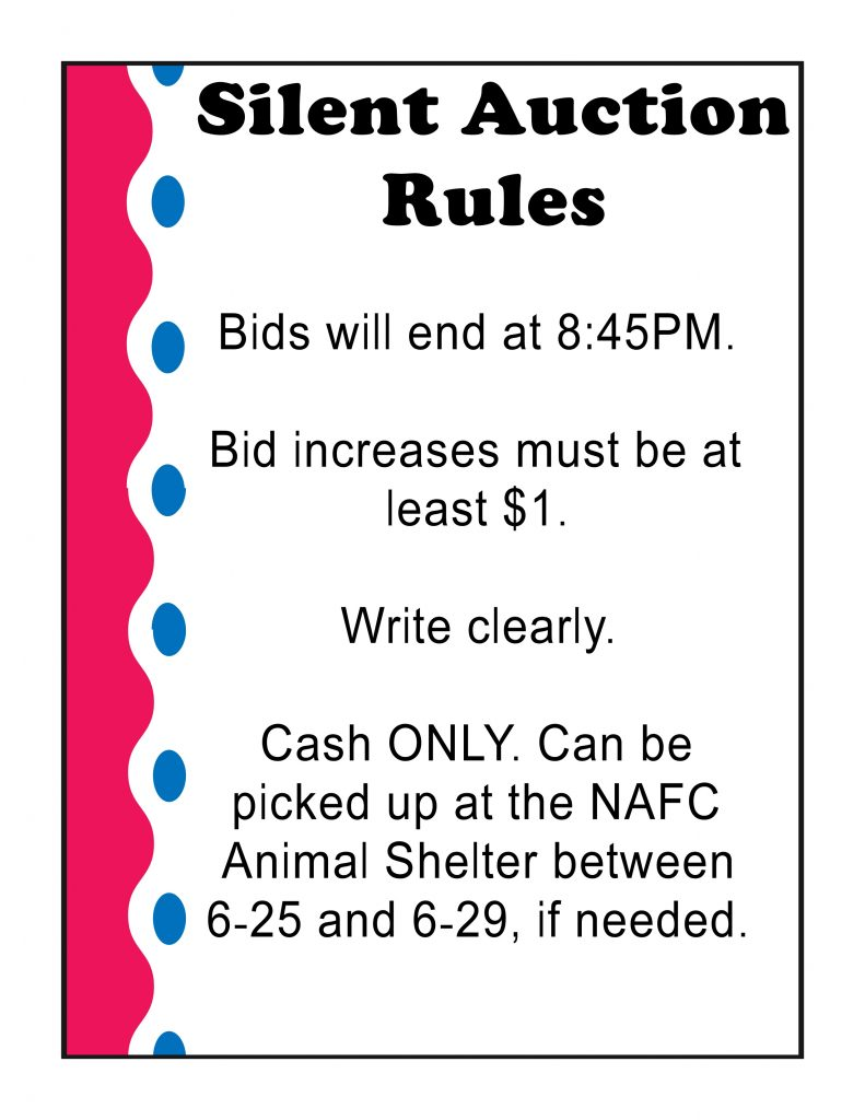 Silent Auction Rules New Albany Floyd County Animal Shelter