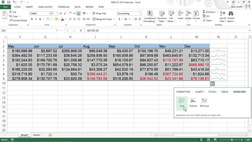 How To Create Sparklines In Excel 2013 For Dummies YouTube